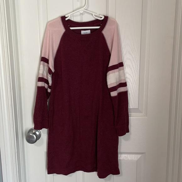 Old Navy sweater dress, burgundy & pink, size M